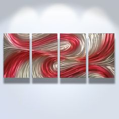 Metal Wall Art Decor Abstract Contemporary Modern Sculpture Hanging Zen Textured - Echo Red. $120.00, via Etsy.