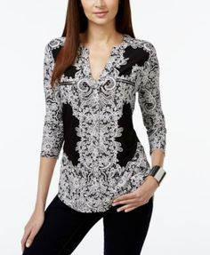INC International Concepts Printed V-Neck Blouse, Only at Macy's