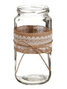 "Glass Cylindrical Vase in Clear Decorated with Burlap and Lace - 7.5"" Tall CLOSEOUT"