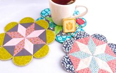 Flower POW Mug Rug: English Paper Piecing PDF Pattern | CraftyPod Shop