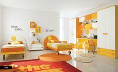 children's room design idea with bright colors of orange, white and yellow #kleurinspiratie
