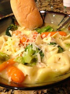 Easy Chicken Tortellini/Gnocchi Soup--I doctor mine up and use gnocchis sometimes instead of tortellini and cook it in the crockpot for 6-7ish hours on low; add gnocchi for the last hour and continuing cooking on low. I also vary the veggies I use. Sometimes it's broccoli and carrots, carrots and celery, or a couple cans of mix veggies.