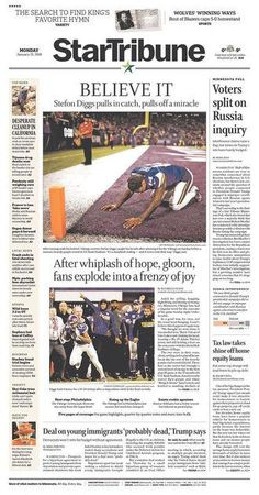 The other side: Minnesota-area front pages assure Viking fans, 'Yes, It Happened'