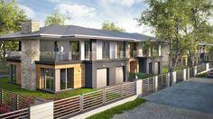 """2nd stage of Kakolowa Aleja Housing Estate in Aleksandrow Lodzki near Lodz / Drugi etap realizacyjny osiedla """"Kąkolowa Aleja"""". Projekt wykonawczy zespołu budynków mieszkalnych jednorodzinnych w zabudowie bliźniaczej dotyczył dwóch kolejnych budynków, po cztery apartamenty w każdym. Budynki zrealizowano w 2014 roku. Semi Detached, Detached House, Houses, Mansions, House Styles, Home Decor, Homes, Decoration Home, Manor Houses"""