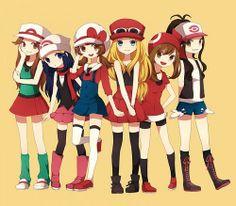 Trainer Leaf, Dawn, Lyra, Serena, May & Hilda