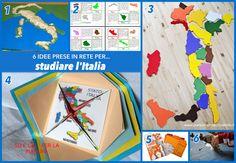 L'anno scorso PFdurante il suo corso d'italiano organizzato dal Consolato ha studiato le regioni e i capoluoghi d'Italia. Con mia sorpresa si è divertito molto ad impararli a memoria, inventando a... Montessori, Geography For Kids, Home Schooling, 3 D, Homeschool, Playing Cards, Activities, Studio, Books