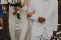 Bride Groom Bridal portraits. Backyard Indie Bohemian Long Island DIY Wedding. Dress and veil: Lindsey Thornburg.  Chellise Michael Photography in Brooklyn, NYC White Tux Cream Satin Dress Straps