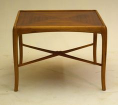Walnut and Fruitwood coffee end sofa Table by Thomasville 1965 vintage #thomasvile