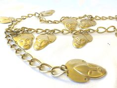 GOLD Face Belt vintage gold chain  belt with thigh-fashion gold faces by StudioVintage on Etsy