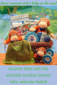 A New Little Monkey $119 Celebrate the arrival of the new bouncy baby with this unique gift, A New Little Monkey Baby Gift Basket. The musical plush monkey, matching baby security blanket and rattle will be treasured toys for years to come. Includes: • Natural willow tray with jute rope • Musical plush monkey • Plush monkey security blanket • Plush monkey rattle • Baby onesies • Baby beanie • Baby booties • Baby Teether • Little Monkey tooth keepsake • Little Monkey curl keepsake AND MUCH…