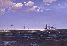 ''Laughing Gulls Off Lookout' A larger #shrimp boat off #CapeLookout. A #NorthCarolina scene, as are many of my #paintings. Also, I have two #special offers on a couple of open editions of my #prints- super #affordable for #Lastminute #gifts these #holidays! click these following links! http://stuartdance.com/capelookoutclassicsSSD40.html **********AND CLICK********* http://stuartdance.com/shellcollectionSSD17.html#HUGEDEALS!