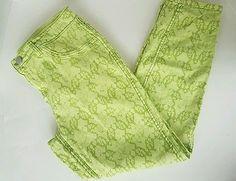 Women's Tribal Jeans Reversible Flip 2 Side Light Green Tribal Jeans Pants 14