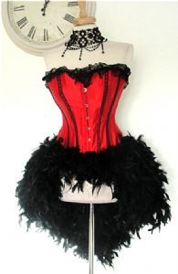 Red Satin (Steel Busk) Corset with Feather Bustle (Lydia Red) 56 pounds Burlesque Outfit, Burlesque Corset, Lace Corset, Burlesque Clothing, Feather Tutu, Bustle Skirt, Steampunk Fashion, Dress Outfits, Dresses
