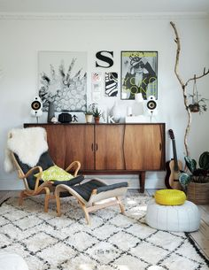 Danish living room with Bruno Mathsson Pernilla lounge chair | Dorthe Kvist's home, from the book 'Bohemian Modern' by Emily Henson