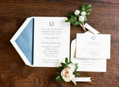 darling blue horseshoe wedding invitations - photo by Laura Murray Photography