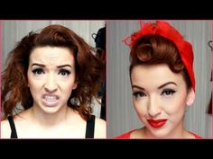 Here is a classic Pin-up glamour hair tutorial for you! Perfect for all pin-up girls. Vintage Hairstyles Tutorial, 1940s Hairstyles, Scarf Hairstyles, Easy Hairstyles, Wedding Hairstyles, Hairstyles Videos, Pin Up Vintage, Look Vintage, Vintage Scarf