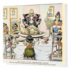 THANKSGIVING CARTOON, 1898. New Faces at the Thanksgiving Dinner: American cartoon, 1898, on the U.S. territorial acquisitions following the conclusi.