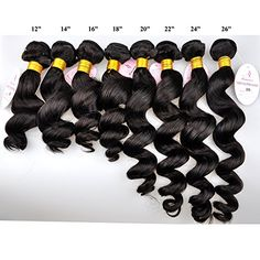 """Romance Hair Products 5a Grade Brazilian Loose Wave Brazilian Virgin Hair Extension Human Hair Weaves 14-26 Inches Available (20"""", Virgin Undyed Natural Black)"""