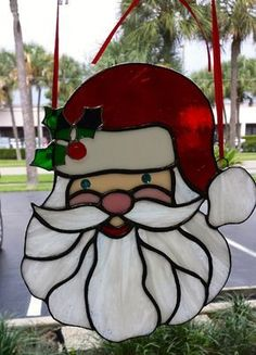 "Holly Jolly Santa Claus Stained Glass Suncatcher, Very ""Merry"" Holiday Decoration, Ornament, L a Stained Glass Ornaments, Stained Glass Christmas, Stained Glass Suncatchers, Faux Stained Glass, Stained Glass Designs, Stained Glass Projects, Glass Christmas Ornaments, Stained Glass Windows, Stained Glass Patterns Free"