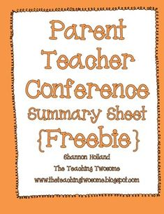 Parent Teacher Conference Summary Sheet {FREEBIE}
