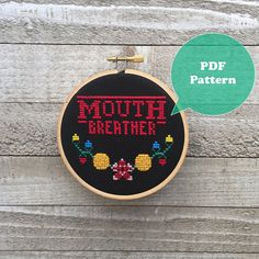 Mouth Breather  Stranger Things Inspired Cross Stitch Pattern