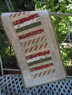 Christmas Stripe Table Runner (no pattern)