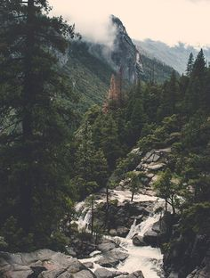 This Surreal Yosemite View, Fine Art Print features a mystical looking scene in a northern California forest. A white stream of melted snow runs down the mountain on a rainy afternoon. This is a moody