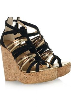 Jimmy Choo suede and leather wedge sandals $595 at www.jimmychoo.com