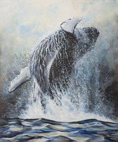 """Goliath"", by acrylic on canvas. Original sold, available and very popular in giclee prints and fine art cards. Modern Impressionism, Giclee Print, Whale, Vibrant, Fine Art, The Originals, Canvas, Art Cards, Prints"