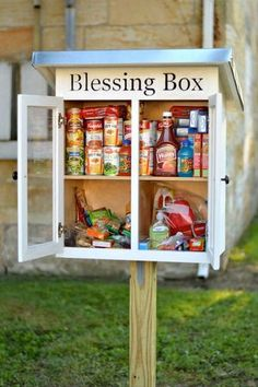 """Take what you need, ifyou need, is the inspiration behind the """"Blessing Box.""""The idea is simple: people donate non-perishable, essential items, and place them inside the box so people…"""