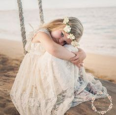 beach flower girl dress junior bridesmaid dress by SweetValentina Bohemian Flower Girl Dress, Beach Flower Girls, Flower Girl Dresses Country, Rustic Flower Girls, Bohemian Flowers, Lace Flowers, Flower Dresses, Girl Beach, Toddler Girl Dress Shoes