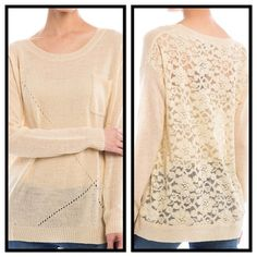 LACE BACK KNIT SWEATER IN BEIGE S/M On trend is simple luxury and feeling feminine. A soft, knit front with dainty pocket; finished neck, sleeves, and bottom edges.  The back is a beautiful sheer lace that makes a truly feminine and sexy statement.  Pair with a cami or gorgeous bralette, depending on how daring you are. Poly/acrylic/cotton, 28 inches long. Available in BLUSH or BEIGE. Sized S/M or M/L only.  No trades. This listing is BEIGE IN S/M luvsmink&more Sweaters Crew & Scoop Necks
