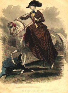 A nice 1847 fashion plate showing a brave lady actually putting her fashionable riding habit into practice. Better her than me!