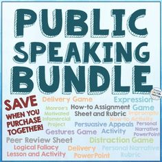 Public speaking is so stressful for many teenagers, but these fun activities help students learn to love this valuable skill.  This bundle includes assignment sheets, rubrics, graphic organizers, PowerPoint presentations, and games!  $