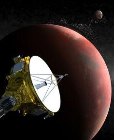 An artist's drawing shows the New Horizons spacecraft as it nears Pluto. The moon Charon is in the distance. New Horizons launched in 2006, in 2015 it will reach Pluto..The mission will spend more than five months studying Pluto and its moons. New Horizons will then study other objects in the Kuiper Belt.