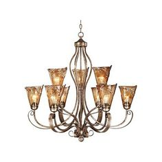 """Amber Scroll 35 1/2"""" Wide Chandelier (660 BAM) ❤ liked on Polyvore featuring home, lighting, ceiling lights, golden lighting, golden lamp, golden chandelier, franklin iron works chandelier and scroll lamp"""