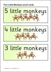 Five Little Monkeys Jumping on the Bed word cards (SB9273) - SparkleBox