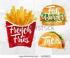 Set of french fries, fish burger and  tacos drawing with color paint on crumpled paper. - stock vector