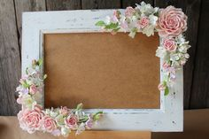 Frame for wedding photo. Polymer clay flower. by FloraAkkerman, $80.00