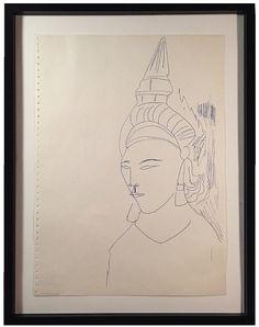 Andy Warhol drawing 1954 Bangkok at: vince+fine arts  www.vincefinearts.com