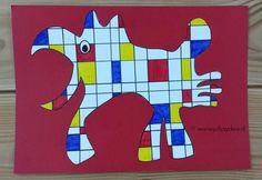 Fantasiedier - in de stijl van Mondriaan www.jufjaydee.nl Piet Mondrian, Artists For Kids, Art For Kids, Doodle Drawing, Famous Artists Paintings, Fantasy Kunst, Yearbook Covers, Anime Kunst, 6th Grade Art