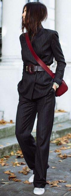 Pinstripe suit & burgundy bag