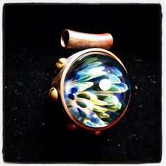 """James Yaun (and wife) Steampunk """"Keeper of the Opal Orb"""" Marble Pendant Collaboration One of One $ 240"""