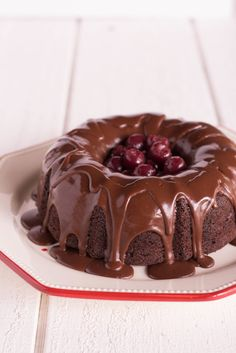 Grandma Delilah's Chocolate Cherry Bundt Cake with Chocolate Glaze - RUDY AND DELILAH