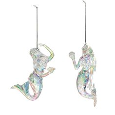This clear acrylic mermaid figurine has a crystal-like shine. Each mermaid is in a different pose and is holding a seashell. Both come with cords to hang on a Christmas tree or wall. Perfect for a coastal theme or for mermaid fans. Candy Cane Christmas Tree, Christmas Ornament Sets, Christmas Tree Toppers, Ocean Home Decor, Coastal Decor, Mermaid Ornament, Fish Ornaments, Christmas Runner, Star Tree Topper
