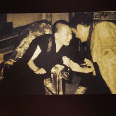 Photo from a lecture on Shamar Rinpoche's life. The young 17th Karmapa Trinley Thaye Dorje and the 14th Shamarpa. Beautiful photo showing their close connection.