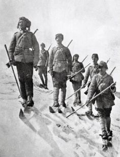 Soldiers of the Ottoman 3rd Army in winter gear during the Battle of Sarikamish, winter 1914-15. Lead by Ismail Enver Pasha, the Ottoman army invaded the Caucasus region during the onset of winter, which is a plan firmly grounded in logical forethought. Unfortunately, the 3rd army, poorly equipped and a little too mortal for such a winter, quickly froze and died. Thousands perished of exposure and disease long before seeing any military action with Russia.