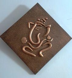 World O Ceramica - Copper Ganesha Diamond shaped Wall-Hanging-Home . Ganesha Painting, Tanjore Painting, Ganesha Art, Mural Painting, Mural Art, Fabric Painting, Paintings, Art N Craft, Craft Work