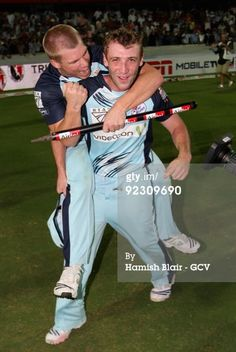 News Photo : David Warner and Phillip Hughes of Blues...