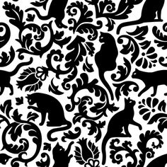 cats in the garden - black and white, large custom fabric by mirabelleprint for sale on Spoonflower